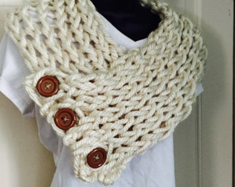 Hand Knit Chunky Boston Harbor Cowl Scarf