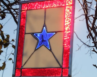 Blue Star Mothers Stained Glass Service Flag Panel