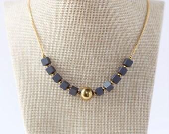 Simple Black and Gold Necklace, Hematite Beads Necklace, Gold Plated Necklace, Hematite Necklace, Hematite Jewelry, Gemstone Jewelry