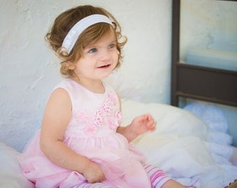Base white baby headband and bow decorated with a flower - handmade