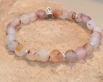 Amber and white bracelet, agate bracelet, Hill Tribe silver bracelet, stretch bracelet, elastic bracelet, yoga bracelet, gift for her