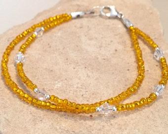 Orange double strand seed bead bracelet, Swarovski bracelet, sterling silver bracelet, dainty bracelet, boho bracelet, gift for her