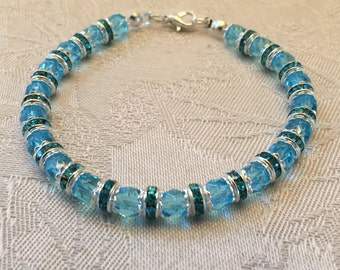 Aqua Blue Aurora Borealis Crystal And Rhinestone Beaded Bracelet