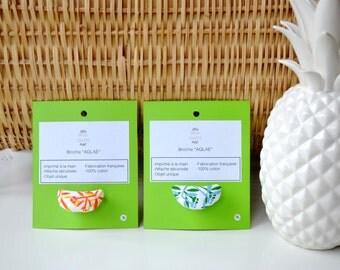 Screen printed brooch - Fabric brooch - Aglaé