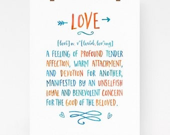 Modern love dictionary definition, romantic wall art, love quote, love art print, tipography art, dictionary art, watercolor, love gift