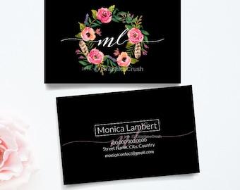 Business Card Layout Black Business Card Watercolor Wreath Printable DIY Custom Digital Download
