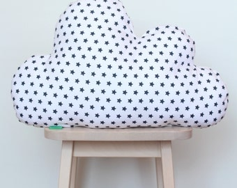 Clouds cushion white with black stars