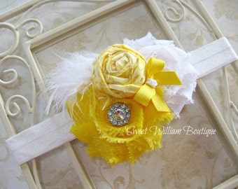 Yellow flower headband, girls yellow and white Easter headband, baby girls yellow headband with flowers and feather, Easter headband