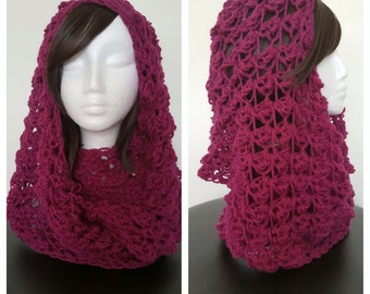 Ladies Pure Wool Hooded Infinity Scarf