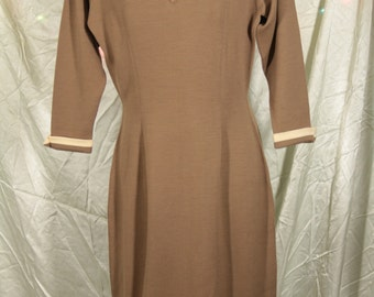Brown Knit Wool Wiggle Dress by Sebastian Made in Italy from the 70s.