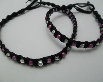 BLACK HEMP Ankle Bracelet & Bracelet SET - Pink and Clear Glass Beads