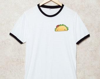 Tacos Shirts Tacos lover Ringer T-Shirt T Shirt White Tshirt Size S , M , L , XL , 2XL , 3XL