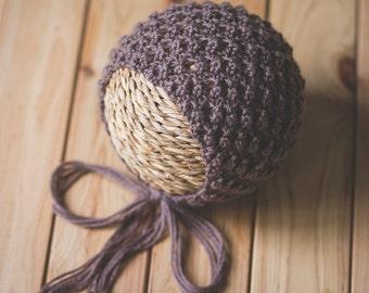 Hand Knitted Newborn Bonnet,Baby Hat,Girl Hat,Boy Hat, Knit Baby Hat, Photo prop, Newborn Props,Infant Hat, Pixie Hat