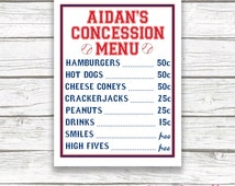Baseball Concession Menu Sign, Printable Birthday Baby Shower Poster, Red and Blue Baseball, Baseball Themed Party, Concession Stand