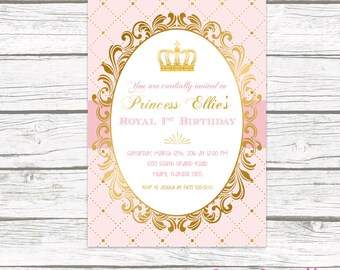 Pink and Gold Princess Birthday Party Invitation, Blush Pink Gold Foil Princess Crown, First 1st Royal Birthday, Printed or Printable Invite