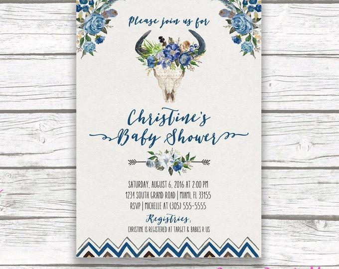 Navy Blue Boy Boho Baby Shower Invitation, Bullhead Tribal Watercolor Floral Antler Cow Skull Invite, Aztec Southwestern Bohemian, Printable