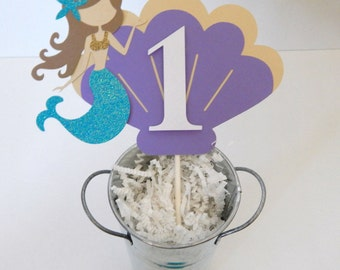 Mermaid Birthday Cake Topper, Under the Sea Mermaid Cake topper, Personalized Mermaid Cake Topper,  First Birthday Cake topper