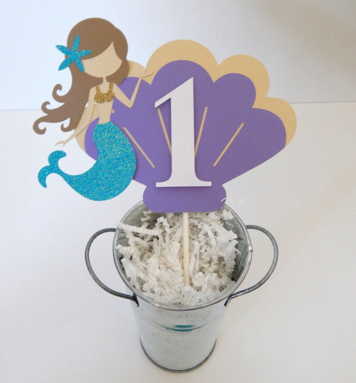 Mermaid Birthday Cake Topper Under the Sea Mermaid Cake