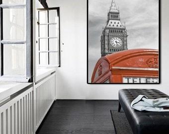 London Large Wall Art, London Photography, London Vertical Large Wall Decor, Big Ben Wall Decor, London Large Wall Decor, Phonebox Photo Art