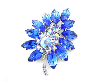 Bright Blue Leaf Brooch