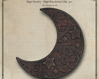 Moon, Cast Iron Digital Clip Art Set 1