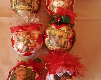 ON SALE!!! Quilted baubles ornaments/Quilted Christmas balls/Christmas decorations