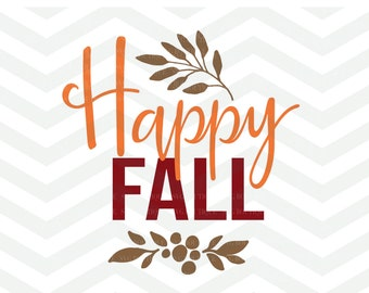 Happy Fall SVG File, Autumn Cut File, Give Thanks SVG, Leaves Cut File, Branches, Cricut, Silhouette, Thanksgiving, Turkey, Fall
