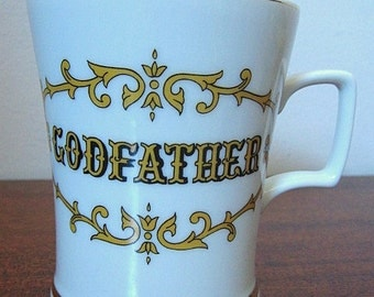 """Vintage 60s """"Godfather"""" China Coffee Cup with Gold Trim"""