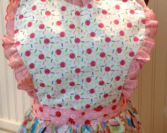 Women's Apron Sweetheart lace ruffled cupcakes and cherries