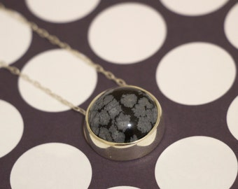 Natural Snowflakes Necklace Snowflake Obsidian Handmade Sterling Silver Black and White Pendant