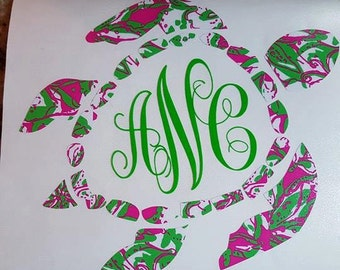 6 inch Lily Pulitzer inspired monogrammed turtle decal