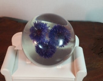 Dried Flower Acrylic Paperweight, Aster Flower Paperweight, Purple Flower Lucite Paperweight, Resin Flower Paperweight