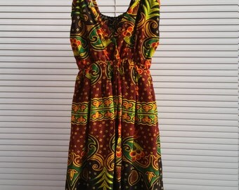 Vintage Batik Printed Summer Dress
