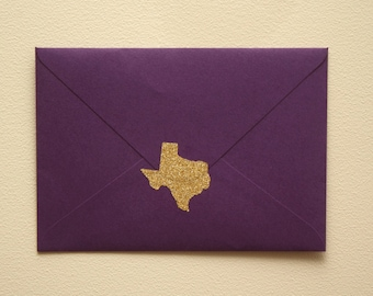 25 gold glitter Texas stickers, save the date invitation seal, Texas envelope seals, Texas wedding, TX save the date, Texas party favor