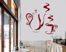 Wall Vinyl Decal Kitchen Coffee Cup and Pot Decor for Restaurants Coffee Shop Decoration (#1038da)