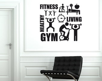 Wall Vinyl Decal Sport Activity Gym Fitness Healthy Life Decor 1930di