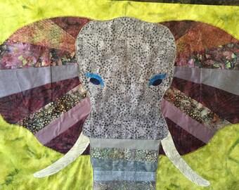 Elephant Head  - Quilt Karma Pattern - Paper Strip Piecing Raw Edge Applique