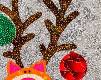 Reindeer Cat - Quilt Karma Pattern - Paper Strip Piecing Raw Edge Applique