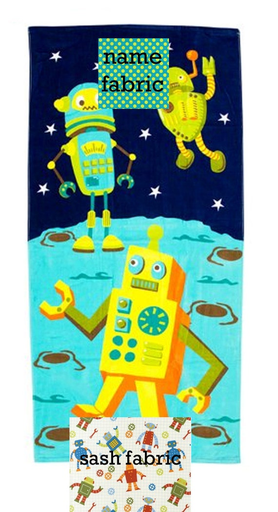 Personalized Name Robot Navy and Teal Beach Towel with Fabric Bow, Summer, Birthday Gift