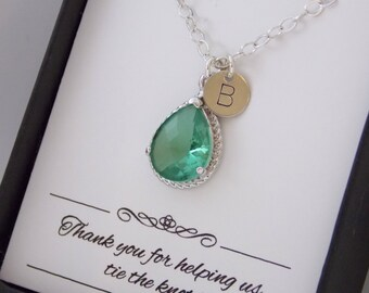 Green Necklace, Sterling Silver, Seafoam, Chysolite, Aqua, Initial Necklace, Personalized Bridesmaid Necklace, Bridesmaid Jewelry, Wedding
