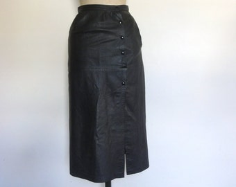 Vintage 90s leather skirt black pencil split high waisted button up size Xs/S