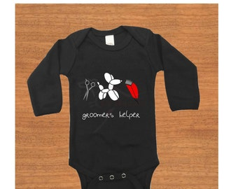 "Baby bodysuit, long sleeved. ""Groomers helper."" Dog. Baby gift. Baby clothes. Baby shower gift. Birthday gift. Christmas gift."