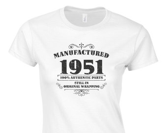 Women's 65th Birthday T Shirt Funny Manufactured 1951 65th Birthday Gifts *GIFT BOXED free of charge!*