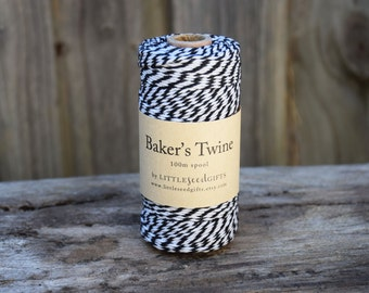 Bakers Twine FREE SHIPPING Black & White 100m Spool 12ply 100% Cotton