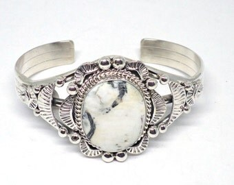 Handmade Native American, Sterling Silver, Navajo Cuff Bracelet, White Buffalo Turquoise