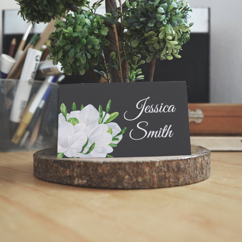 Black wedding Place cards diy Elegant wedding guest cards Freesia ...