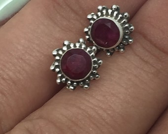 silver stud earrings with ruby stone,silver ruby lewelry,ruby earrings,ruby studs,silver stone studs,stone earrings,gemstone earrings,studs
