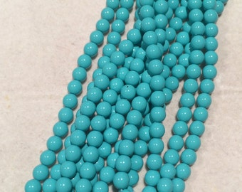 Glass Pearl Beads, 6mm, Turquoise Blue, 48655, 100 Beads, Czech Glass