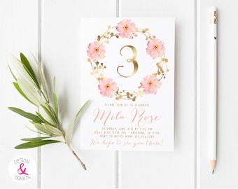 Pink and Gold First Birthday, 3rd Birthday Invitations, Girl Birthday Invites, Boho, Flower, Printable [334]