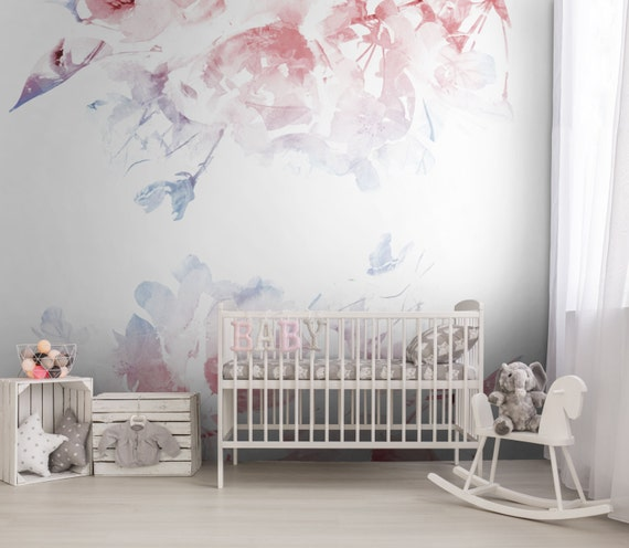 SERENITY ROSE QUARTZ Nursery Floral Removable By LoveCOLORAY